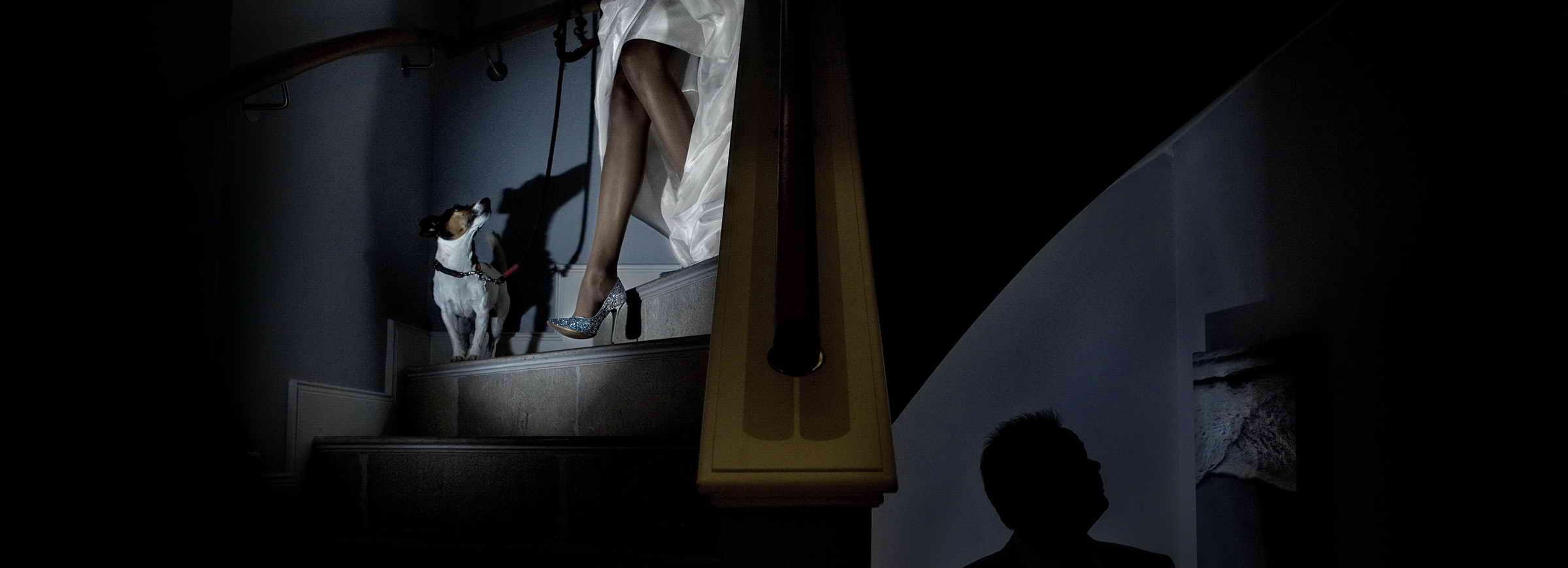 In einer Flur geht die Braut Treppe runter, ihr Hund ist dabei, der Bräutigam wartet unten auf sie. Von ihm sieht man nur die Silhouette.